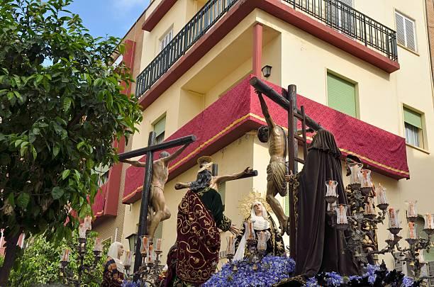 jesus cricified - easter procession spain bildbanksfoton och bilder