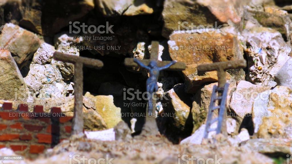 Jesus Crucifixion Scene with Three Crosses Replica royalty-free stock photo