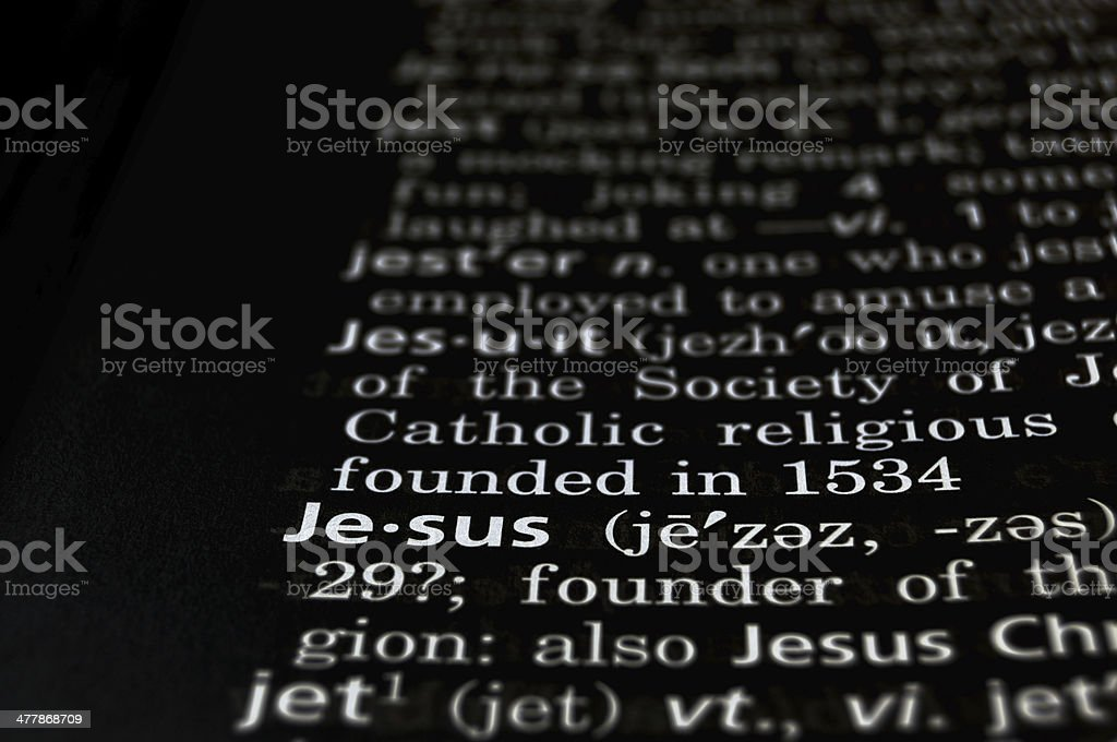 Jesus Defined on Black royalty-free stock photo
