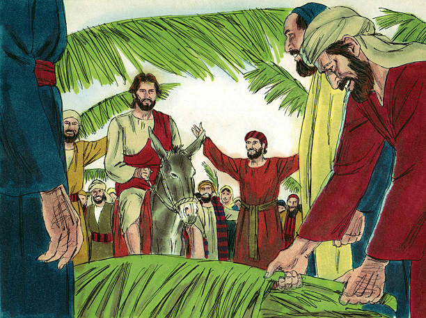 Jesus Enters Jerusalem stock photo