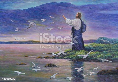 istock Jesus feeds birds 483959032