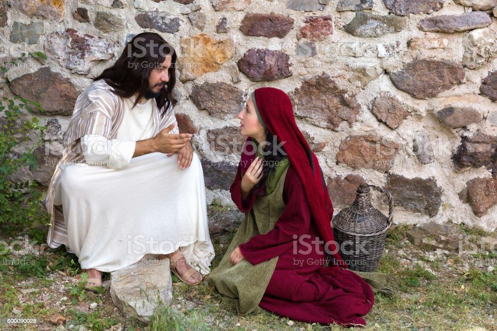 Jesus forgiving sinner stock photo