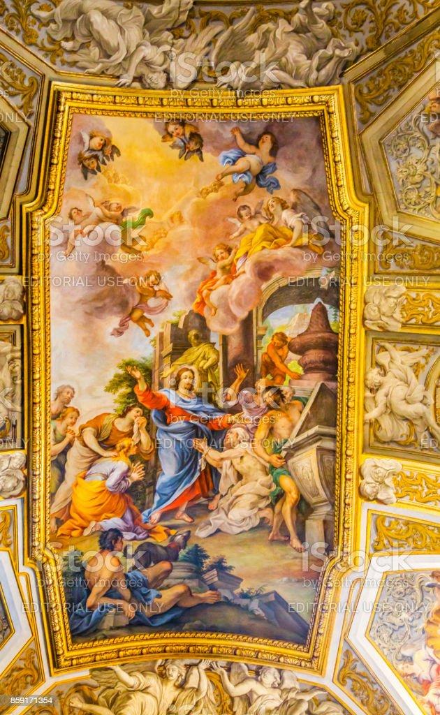 Jesus Fresco Ceiling Santa Maria Maddalena Church Rome Italy stock photo