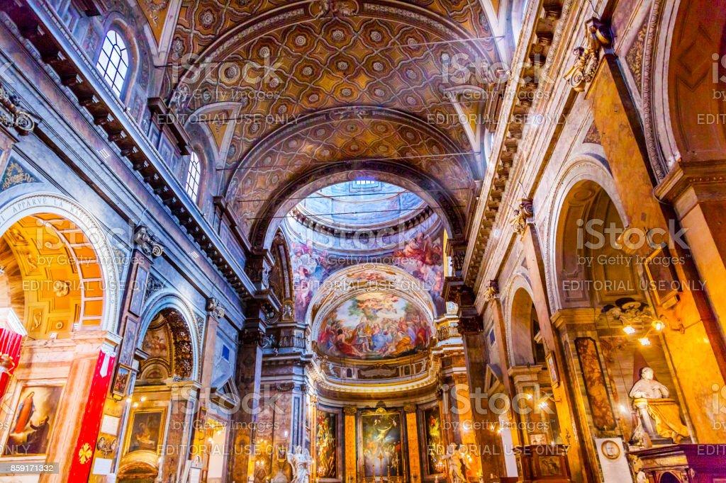 Jesus Fresco Dome Ceiling Santa Maria Maddalena Church Rome Italy stock photo