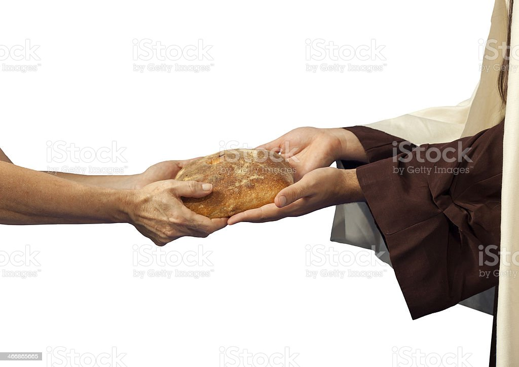 Jesus gives the bread to a beggar. royalty-free stock photo