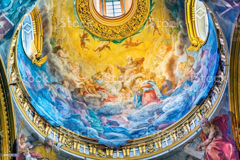 Jesus God Fresoc Dome Santa Maria Maddalena Church Rome Italy stock photo