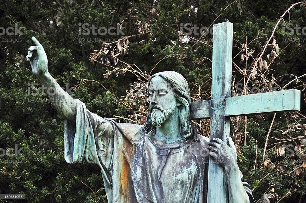 Jesus holding the cross royalty-free stock photo