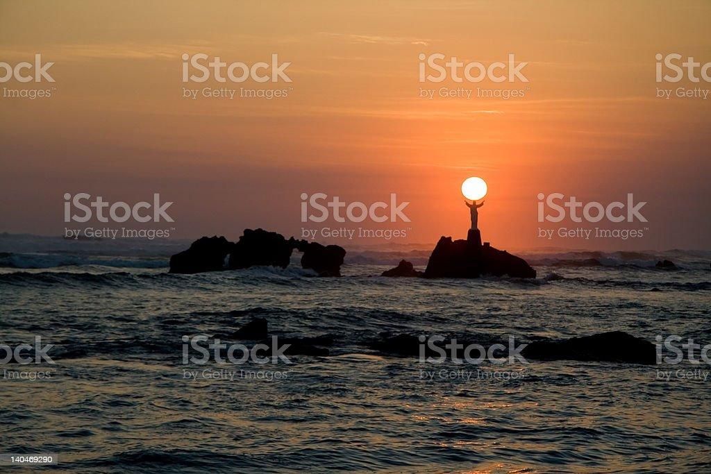 Jesus holding the sun royalty-free stock photo