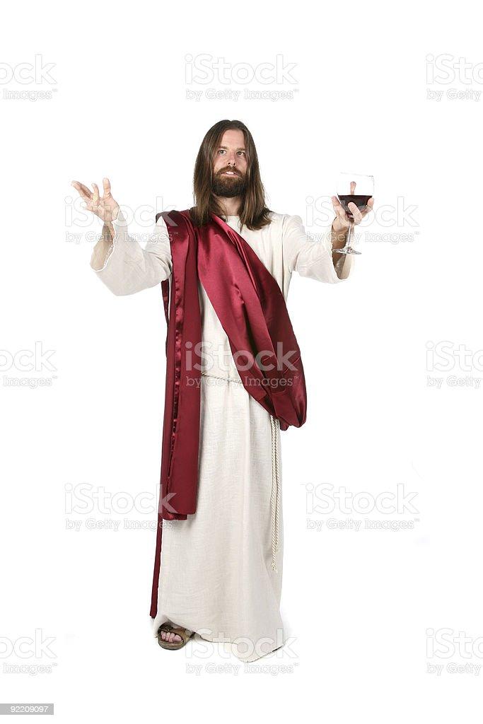 Jesus Holding Wine stock photo