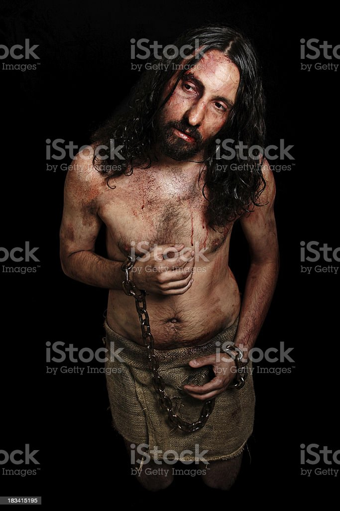 Jesus in chains stock photo