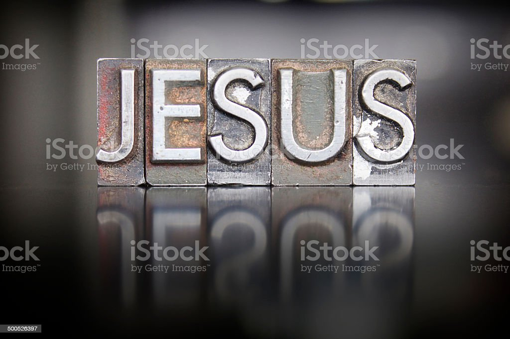 Jesus Letterpress stock photo