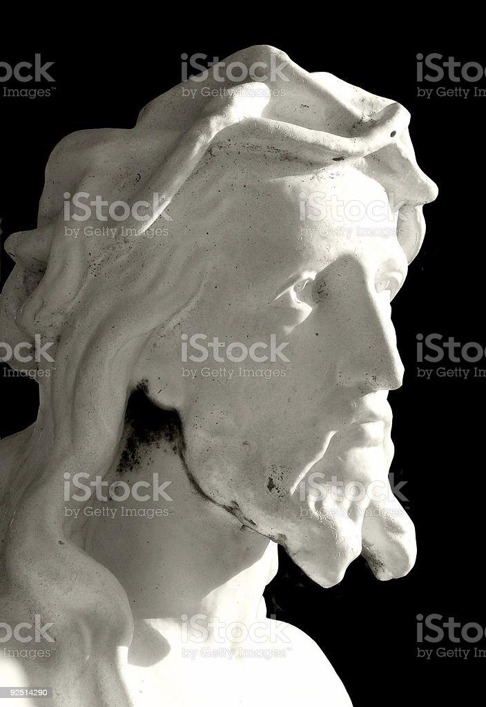 Jesus looking into the light stock photo