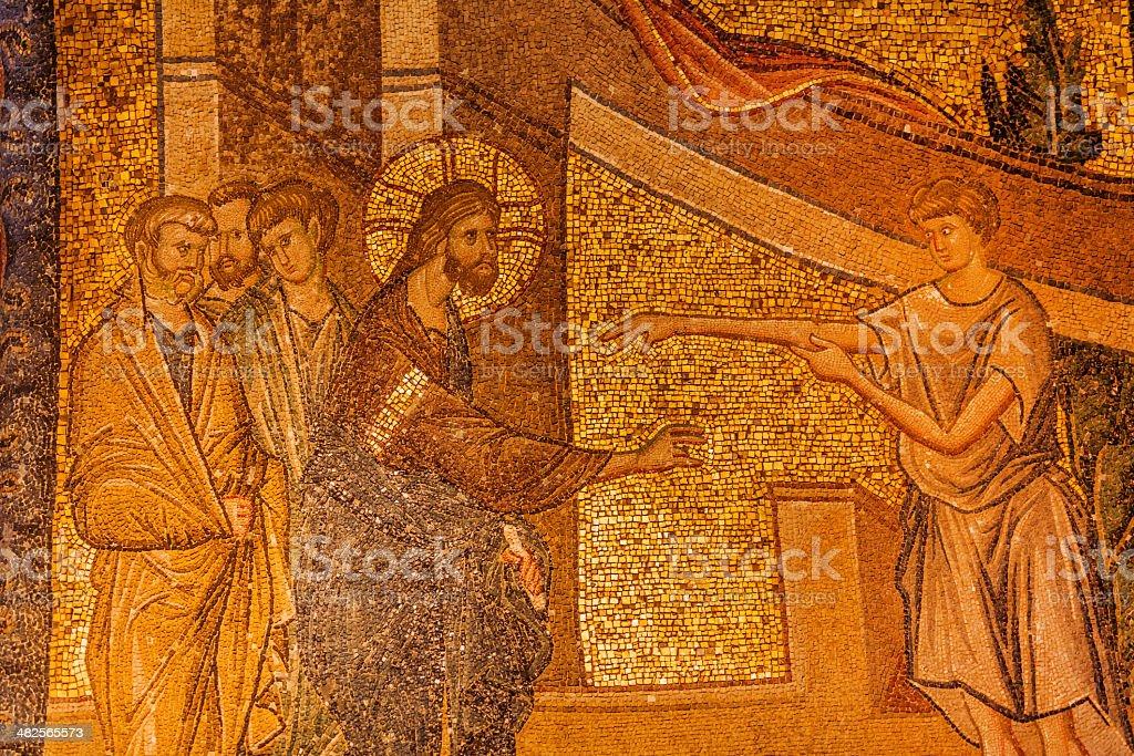 Jesus Miracle Mosaic stock photo