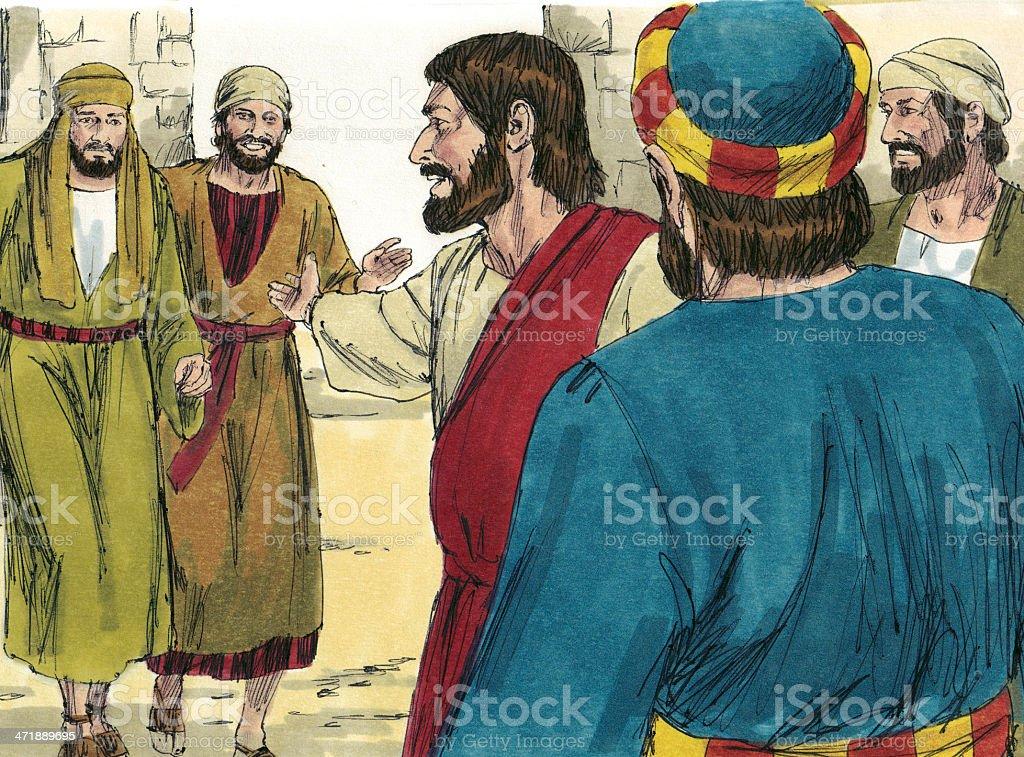 Jesus, Nathanael, and Philip stock photo