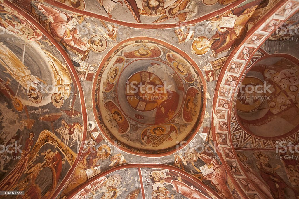 Jesus on Ceiling of The Church stock photo