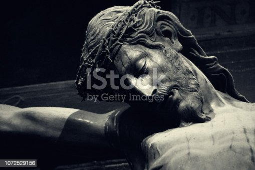 Black and white photo of Jesus on the Cross