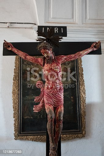 Jesus on the cross in Basilica of Bom Jesus, Goa,