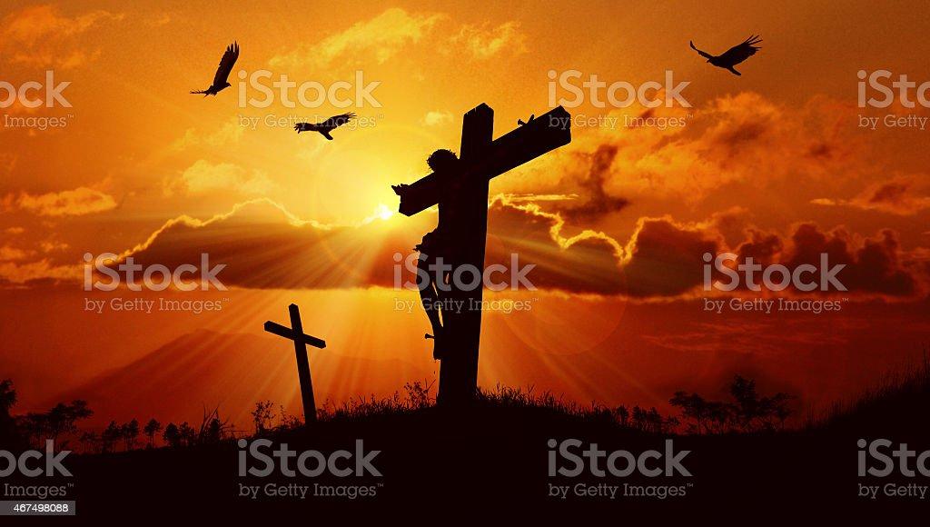 Jesus on the cross stock photo
