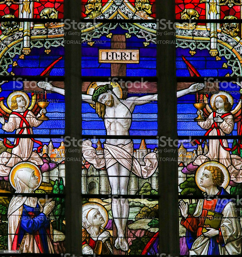 Jesus on the Cross - Stained Glass foto royalty-free