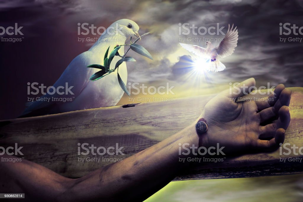 jesus passion and god blessing stock photo