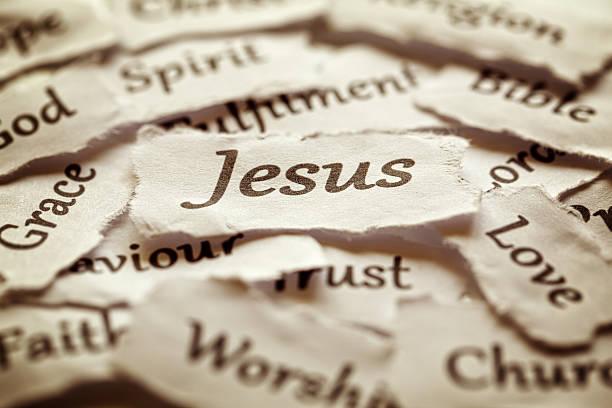 jesus - kollagenblätter stock-fotos und bilder