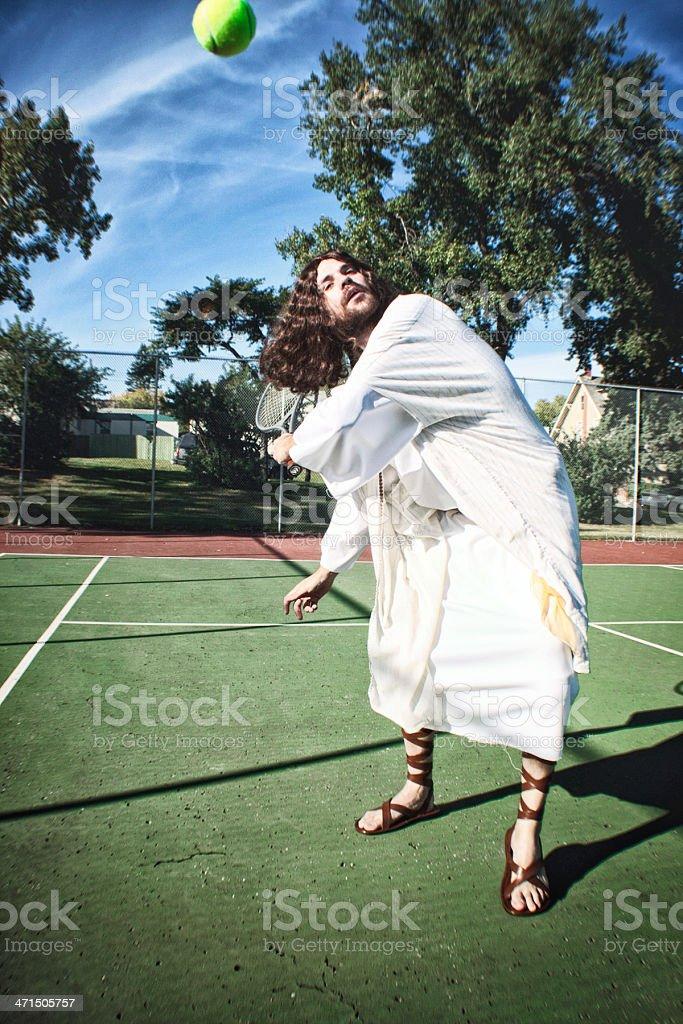 Jesus Playing Tennis royalty-free stock photo