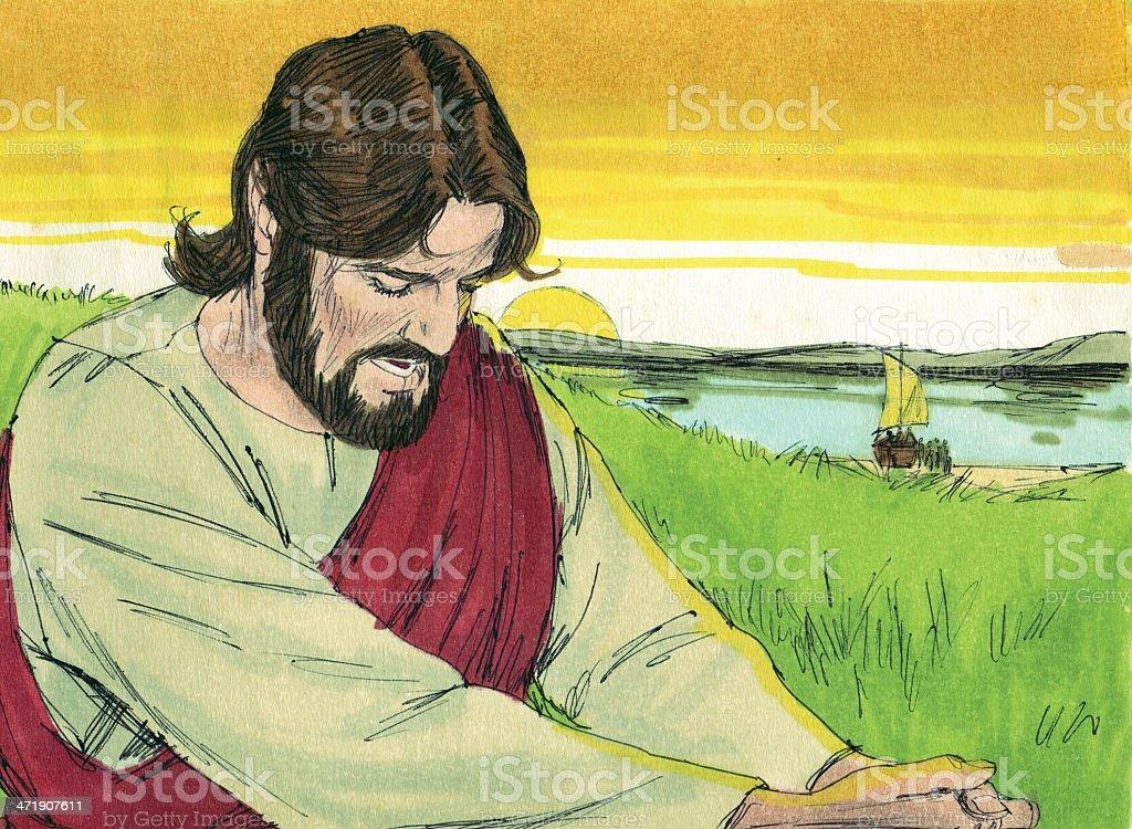 Jesus Prays Alone stock photo