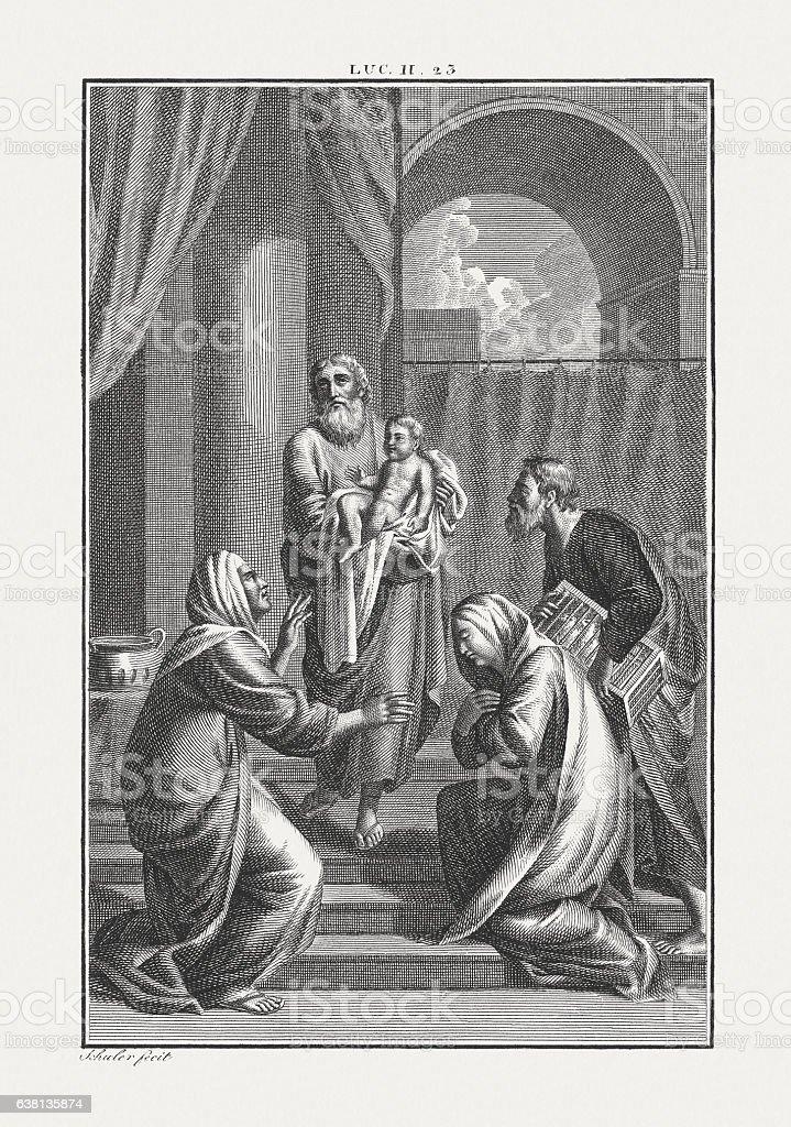 Jesus' Presentation at the Temple (Luke 2), published c. 1850 stock photo