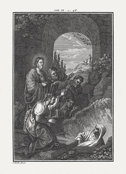 Jesus Raises Lazarus From the Dead (John 11), published c.1850 – Foto