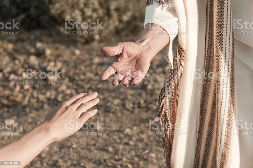 Jesus Reaching Out royalty-free stock photo