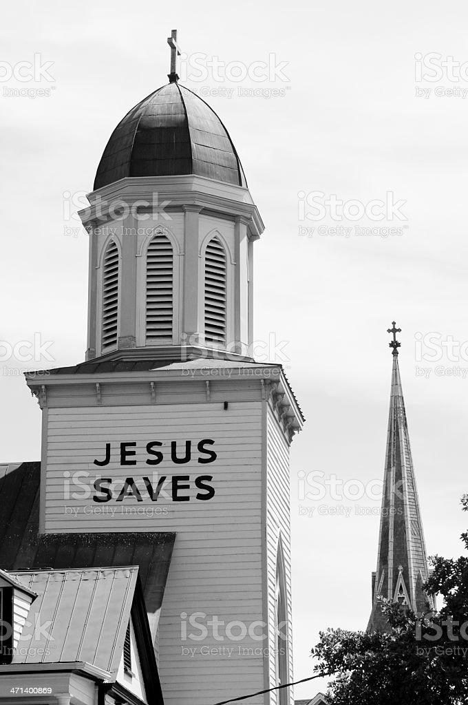 Jesus Saves and church architecture in Charleston, South Carolina stock photo