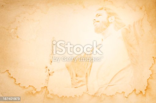 A depiction of a Christ-like Bible figure on a stained yellow/brown grunge background.  Would work great for a powerpoint presentation or Easter song lyrics backdrop.