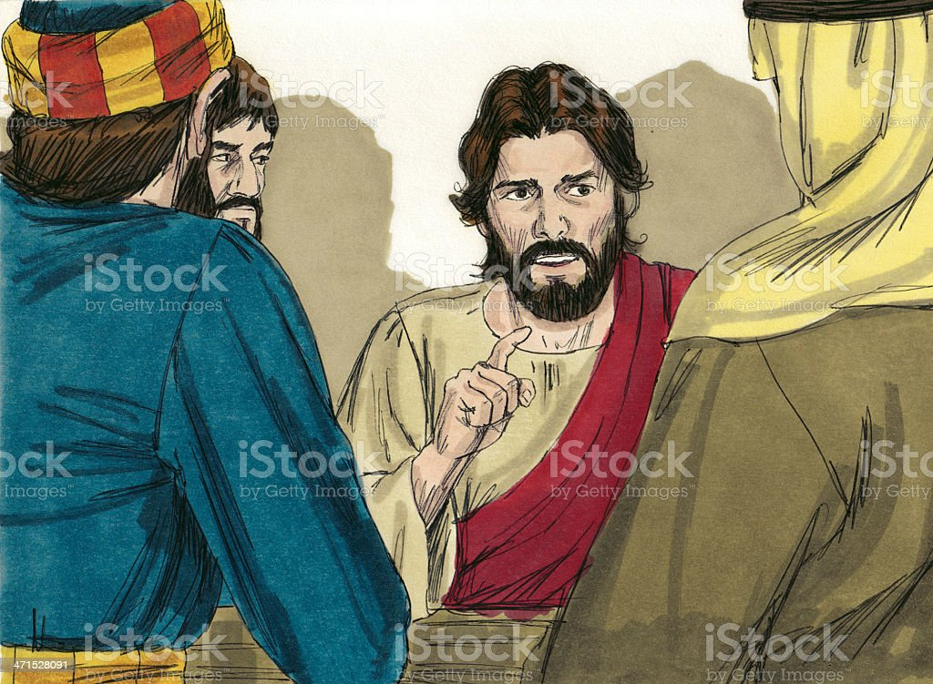 Jesus Seated After Washing Disciple's Feet royalty-free stock photo
