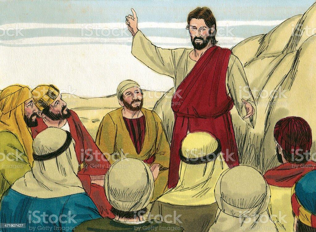 Jesus Speaks to Followers stock photo