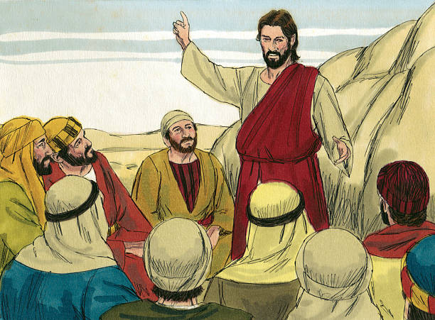 Jesus Speaks to Followers stock photo