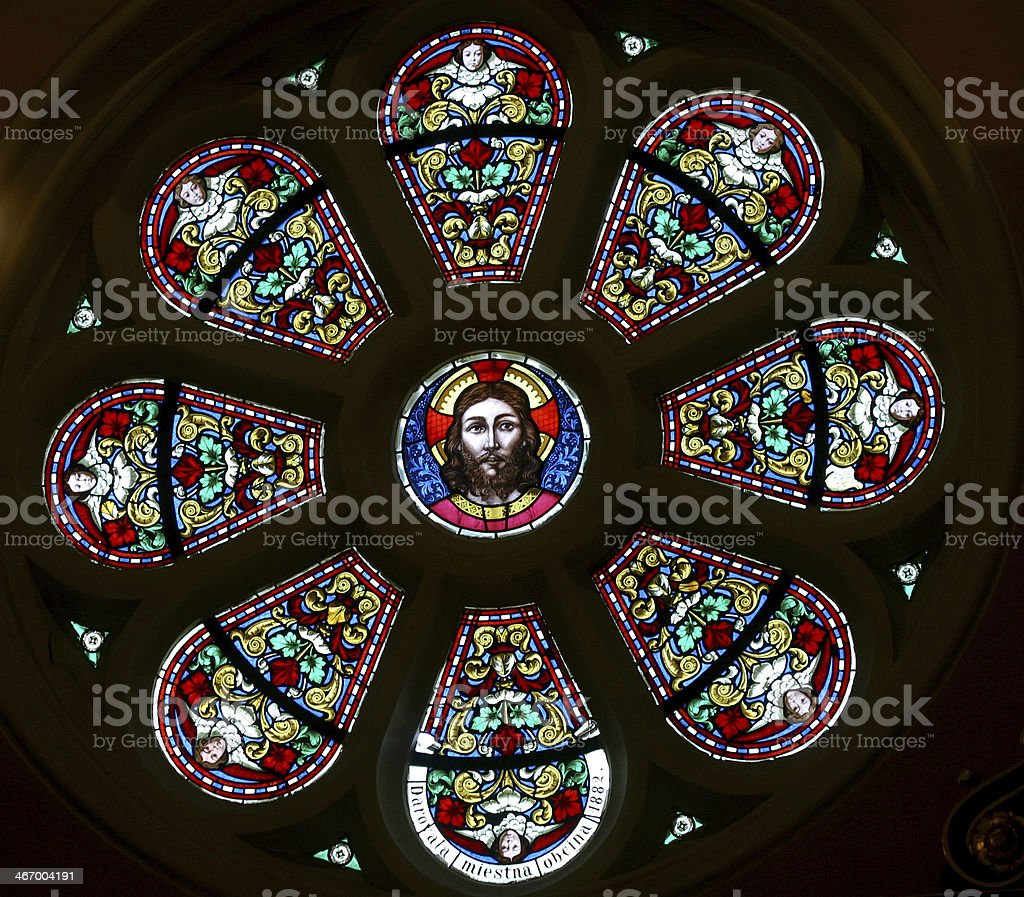 Jesus, stained glass stock photo