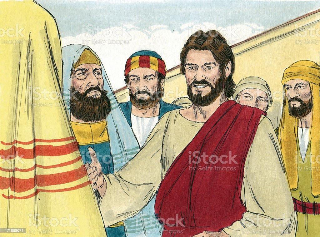 Jesus Talks with Pharisees stock photo
