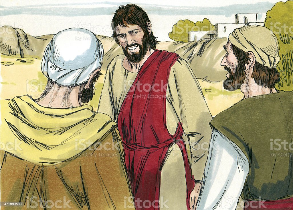 Jesus Talks with Two Disciples stock photo