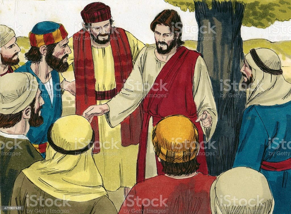 Jesus Teaches Disciples stock photo