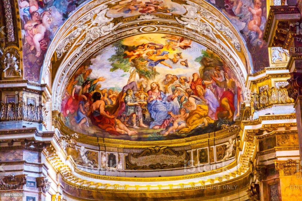 Jesus Teaching Fresco Santa Maria Maddalena Church Rome Italy stock photo