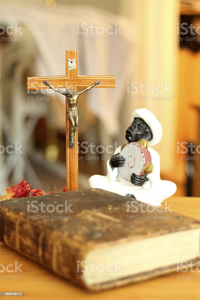 Jesus the bible and a nubian stock photo