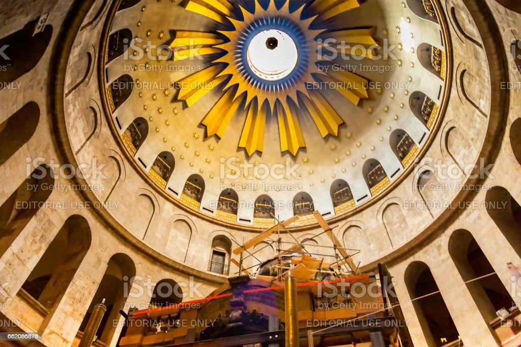 Jesus Tomb Construction Church of the Holy Sepulchre Jerusalem I royalty-free stock photo