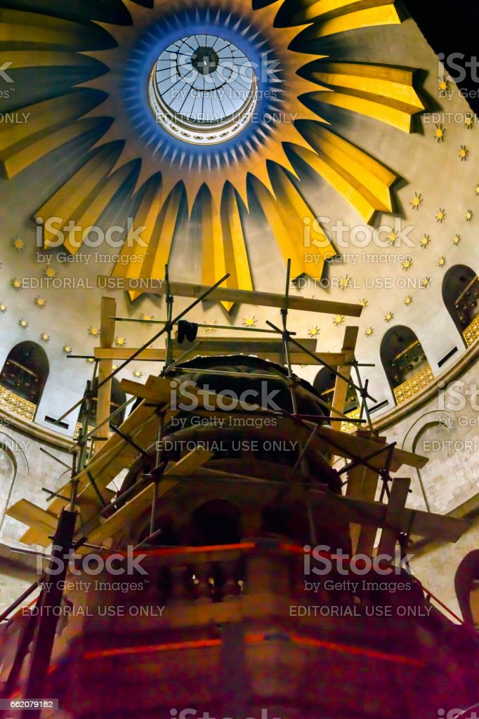 Jesus Tomb Construction Church of the Holy Sepulchre Jerusalem Israel royalty-free stock photo