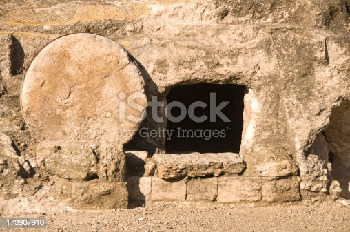 This is an Xlarge sized file of a first century ancient tomb with the stone rolled aside in Israel. This is similar to the type Jesus would have been buried in .
