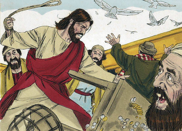 Jesus Turns Over Moneychanger Tables stock photo