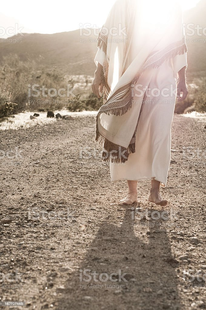 Jesus Walking Towards stock photo