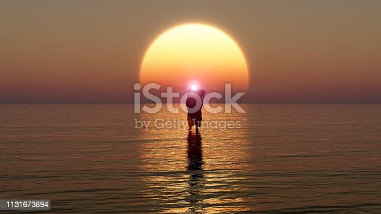 istock Jesus walks on water, Miracles of Jesus Christ,The prophet of God, The coming of Jesus from heaven in the apocalypse evening, 3D Rendering, 3D Illustration 1131673694