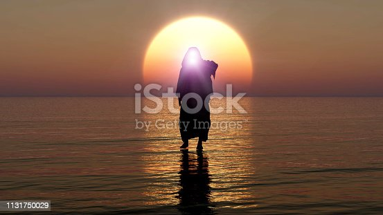 istock Jesus walks on water, Miracles of Jesus Christ,The prophet of God, The coming of Jesus from heaven in the apocalypse evening, 3D Rendering, 3D Illustration 1131750029