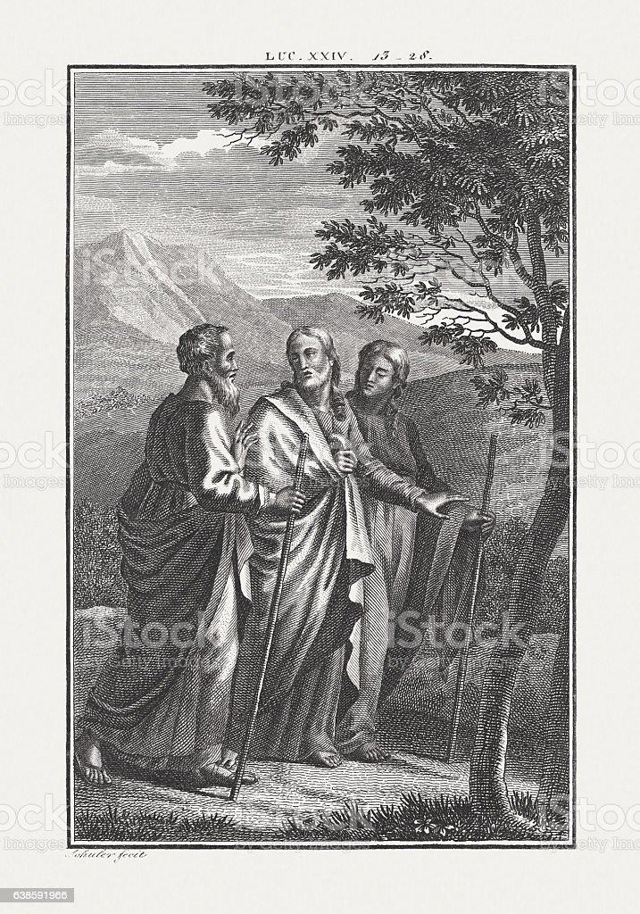 Jesus Walks the Road to Emmaus (Luke 24), published c.1850 – Foto
