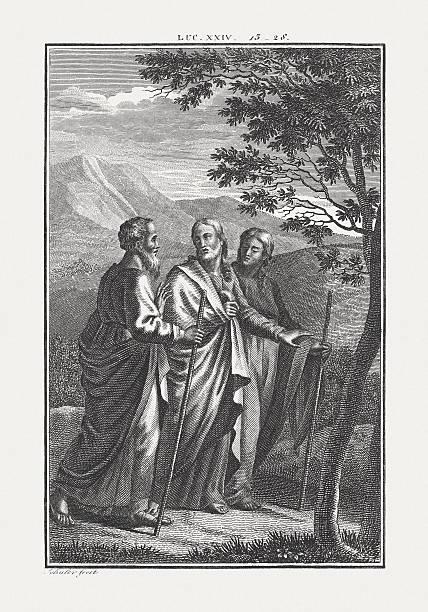 Jesus Walks the Road to Emmaus (Luke 24), published c.1850 stock photo